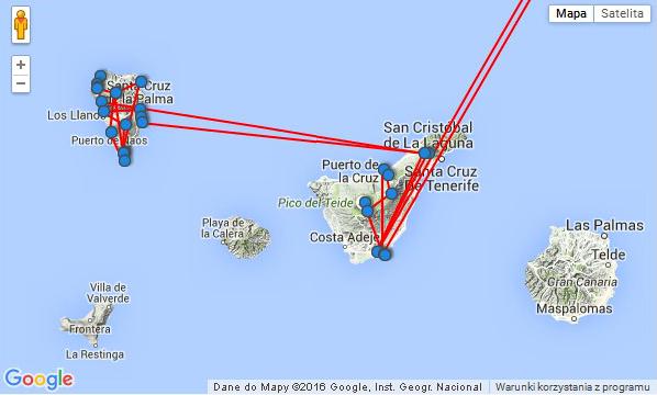 mapa podróż la palma i teneryfa