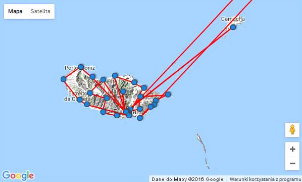 mapa podróży Madera 2016