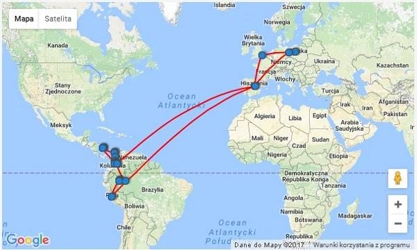kolumbia i peru mapa podróży
