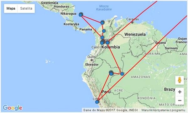 mapa kolumbia i peru